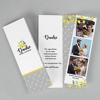 Kreative Dankeskarten Hochzeit  - Citrusfarben - 0