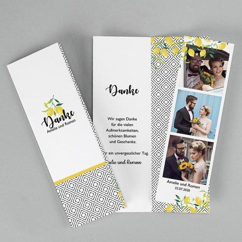 Kreative Dankeskarten Hochzeit - Citrusfarben | Carteland.de