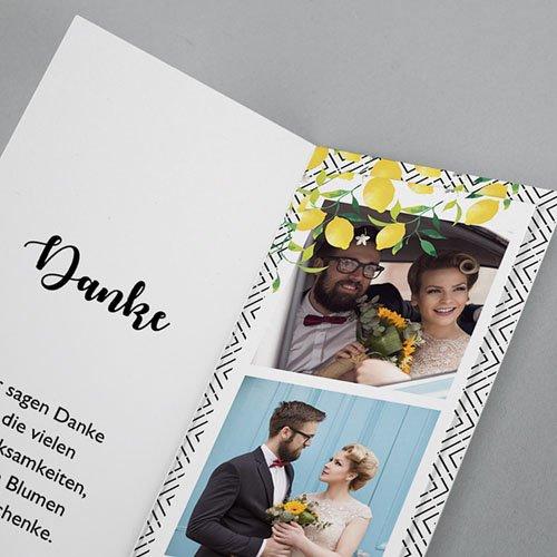 Kreative Dankeskarten Hochzeit Citrusfarben pas cher