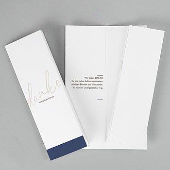 Dankeskarten Hochzeit mit Foto - Blue Color Touch - 0