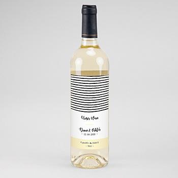 Flaschenetiketten Hochzeit - Streifen & Gelb - 0