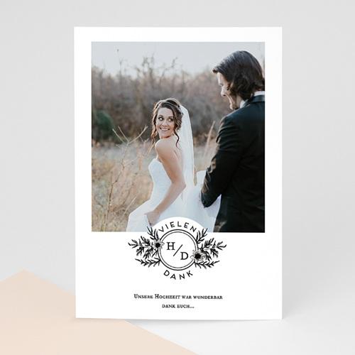 Dankeskarten Hochzeit mit Foto - Black Flowers Pastel 60829 thumb