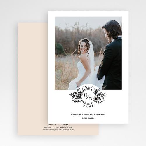 Dankeskarten Hochzeit mit Foto - Black Flowers Pastel 60831 thumb