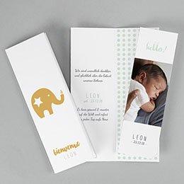 Karten Geburt Éléphant en Or