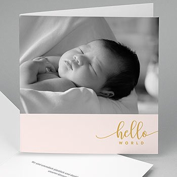 Geburtskarten für Mädchen - Hello World Rose - 0