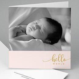 Karten Geburt Hello World Rose
