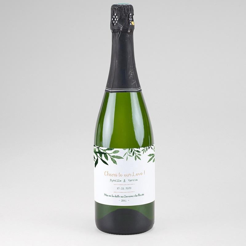 Flaschenetiketten Hochzeit Botanisches Grün