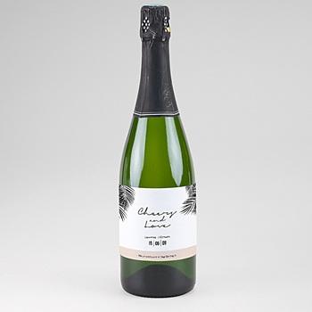 Flaschenetiketten Hochzeit - Palmenblatt Gold - 0