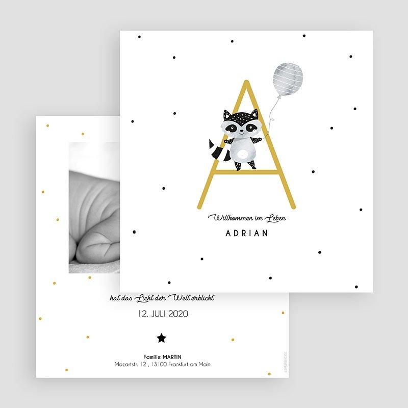 Geburtskarten für Jungen Initiale Safrangelb  gratuit