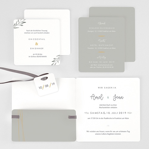 Einladungskarten Landhochzeit - Olivenzweige Aquarell 61461 thumb