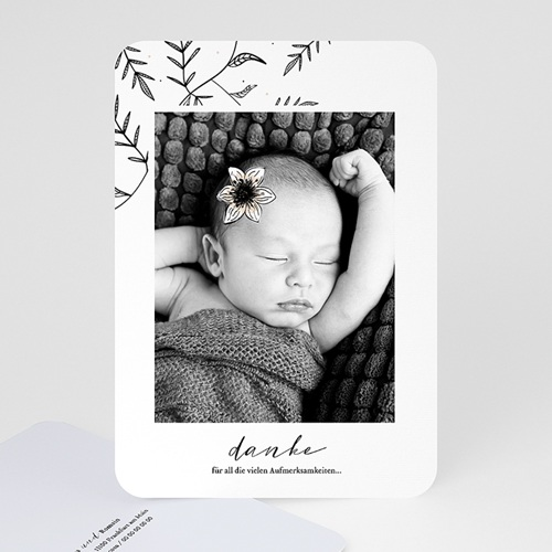 Dankeskarten Geburt Mädchen Anemone