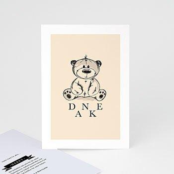 Dankeskarten Geburt Jungen Retro Teddybär