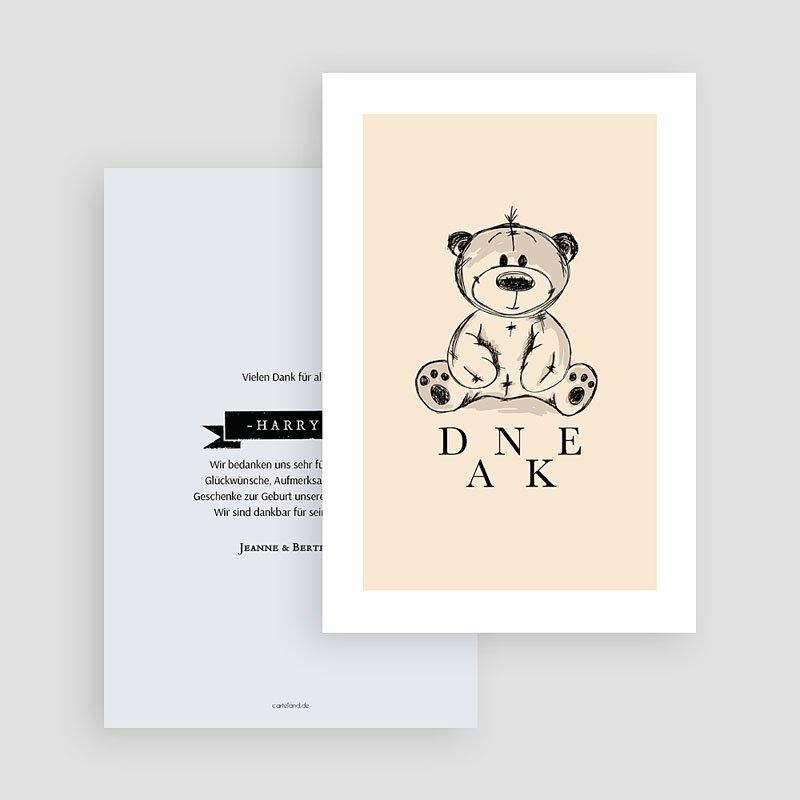 Dankeskarten Geburt Jungen Retro Teddybär gratuit
