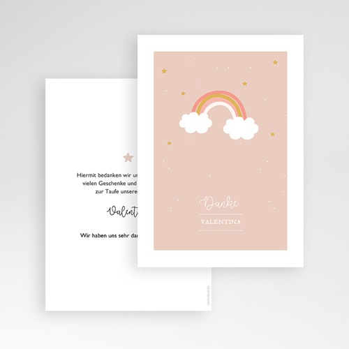 Dankeskarten Taufe Mädchen Regenbogen pas cher