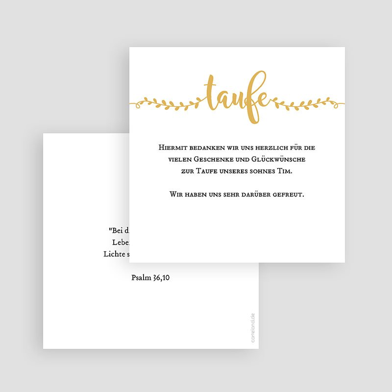 Dankeskarten Taufe Jungen - Taufe in Gold 61967 thumb