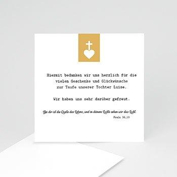 Dankeskarten Taufe Mädchen - Kreuz und Gold - 0