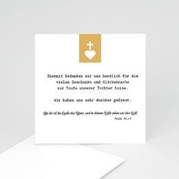 Danksagungskarten Taufe Kreuz und Gold