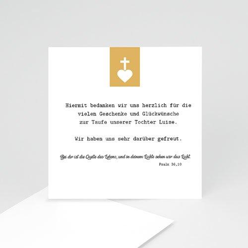 Dankeskarten Taufe fur Mädchen Kreuz und Gold