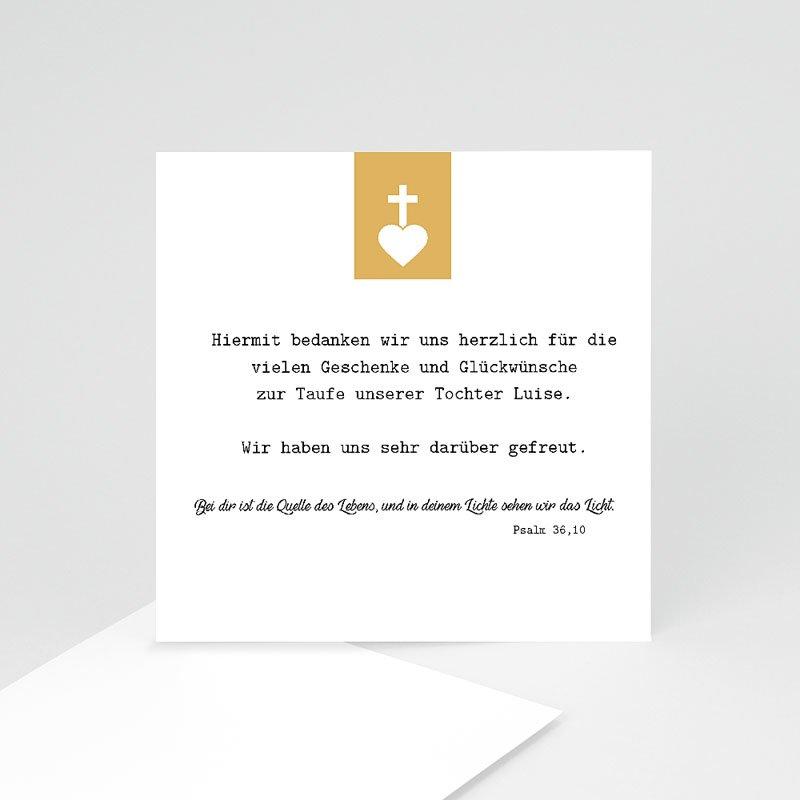 Dankeskarten Taufe Mädchen Kreuz und Gold