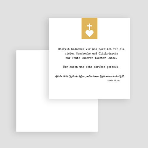 Dankeskarten Taufe Mädchen Kreuz und Gold gratuit