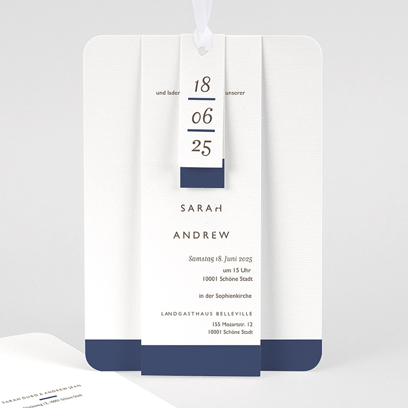 Elegante Hochzeitskarten  - Blue Color Touch 62067 thumb