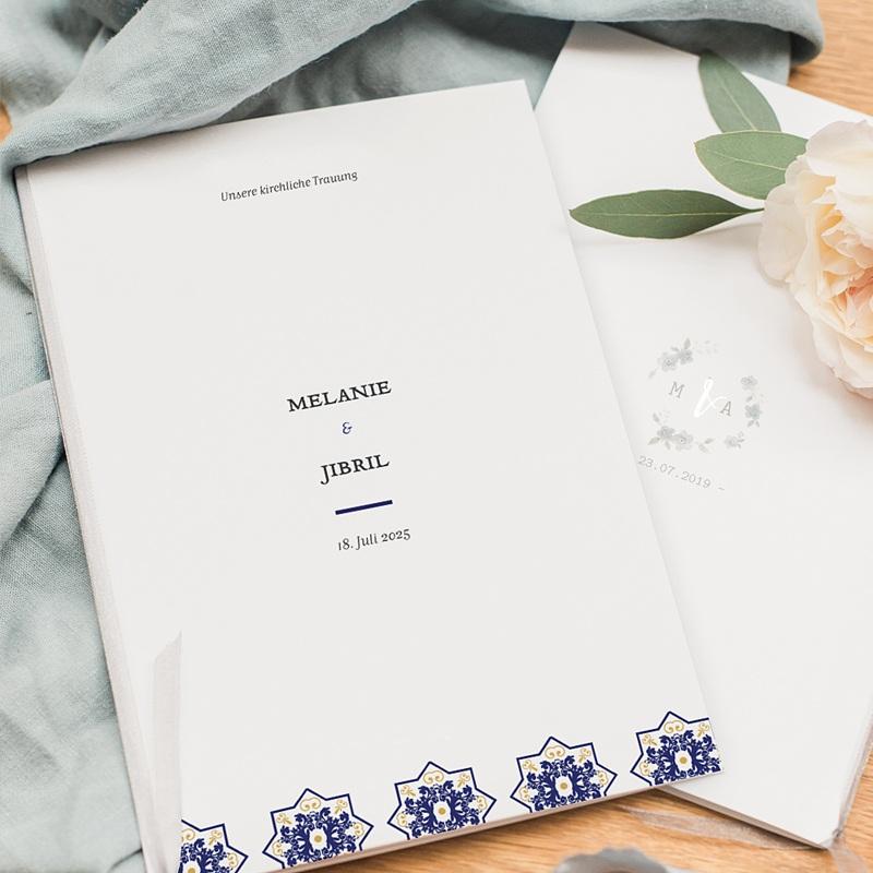 Kirchenheft Hochzeit Ottomane Blau pas cher