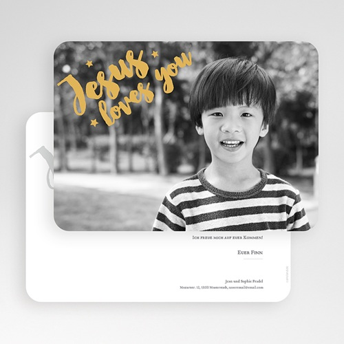 Einladungskarten Kommunion Jungen - Love Gold 62207 thumb