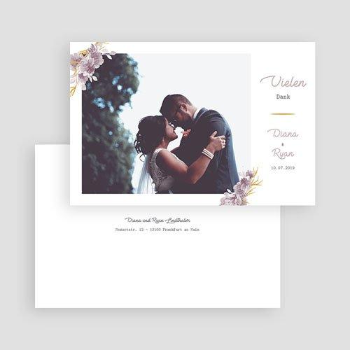 Dankeskarten Hochzeit mit Foto - Vintage Chic Rose 62256 thumb