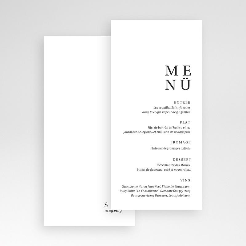 Menükarten Hochzeit Typografisch und Form pas cher