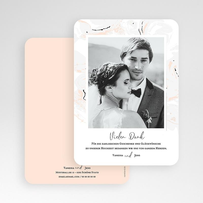 Dankeskarten Hochzeit mit Foto Mamor & Pastell gratuit