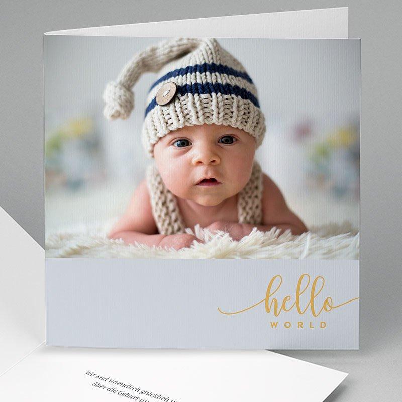 Geburtskarten für Jungen Hello World