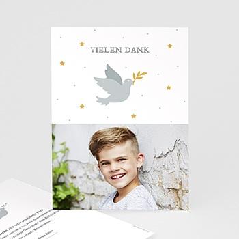 Dankeskarten Kommunion Jungen - Holly Spirit Grau - 0