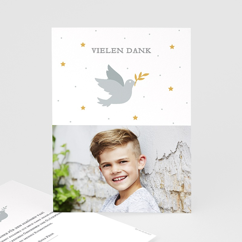 Dankeskarten Kommunion Jungen - Holly Spirit Grau 62698 thumb
