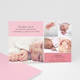 Dankeskarten Geburt Mädchen Rosa