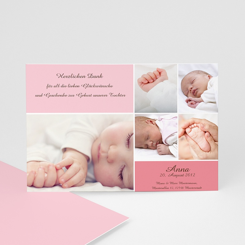 Dankeskarten Geburt Mädchen - Rosa 627 thumb