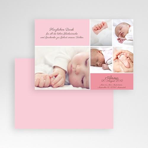 Dankeskarten Geburt Mädchen - Rosa 628 thumb