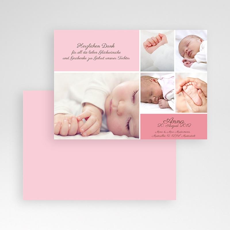 Dankeskarten Geburt Mädchen Rosa pas cher