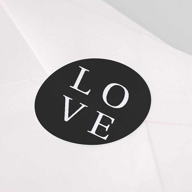 Aufkleber Hochzeit Typografisch und Form pas cher