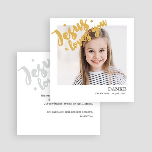 Dankeskarten Kommunion Mädchen Holy Love gratuit