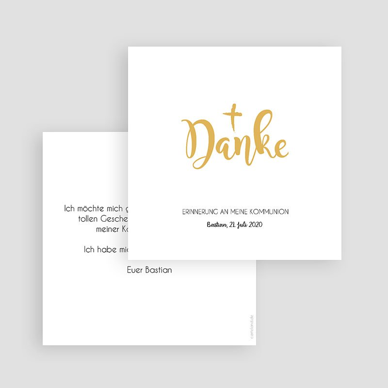 Dankeskarten Kommunion Jungen - Watercolor & Gold 63071 thumb