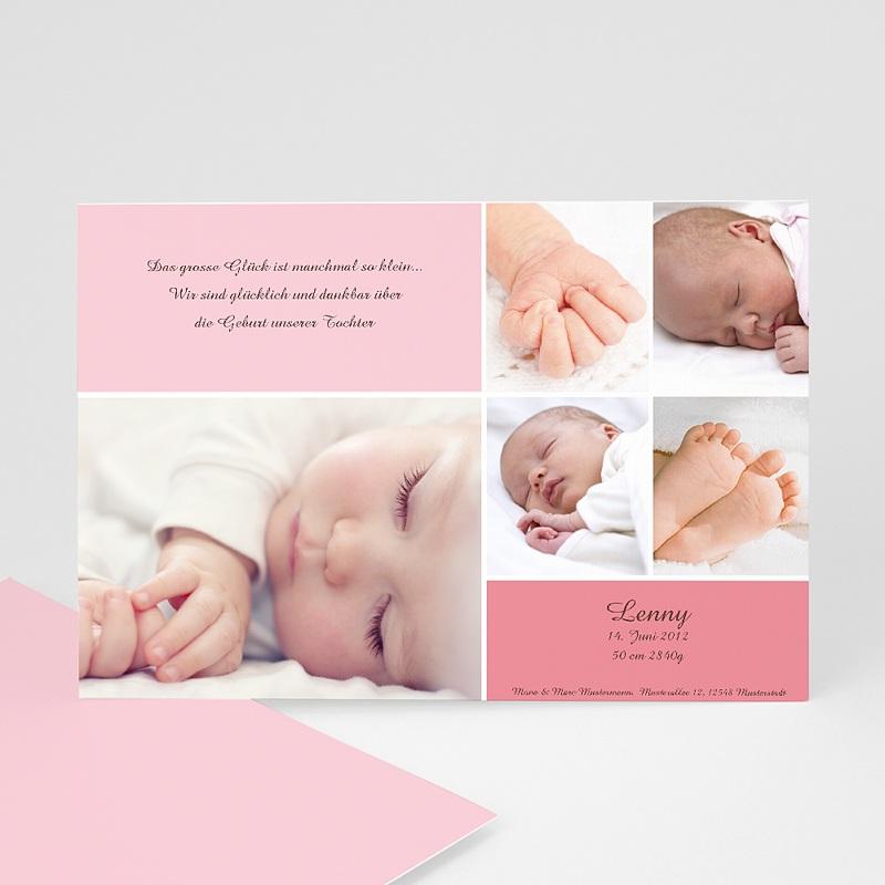 Geburtskarten für Mädchen Fotoreihe rosé