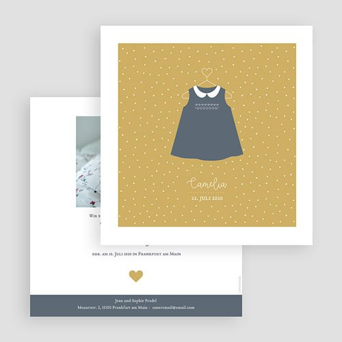 Geburtskarten für Mädchen Kleid Vintage gratuit