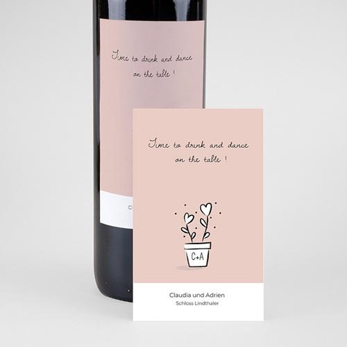 Flaschenetiketten Hochzeit 2 Herzen pas cher