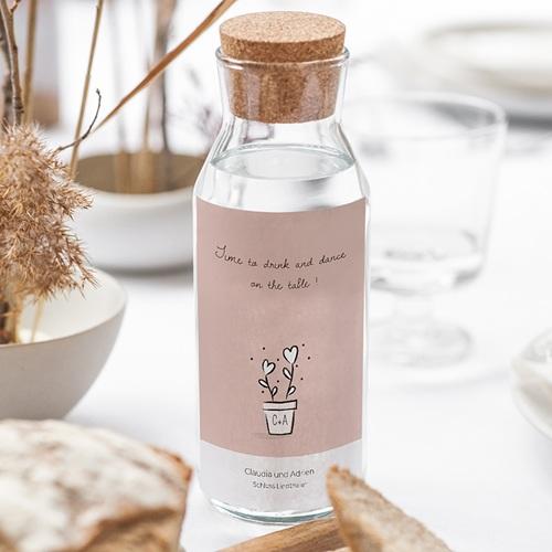 Flaschenetiketten Hochzeit 2 Herzen gratuit