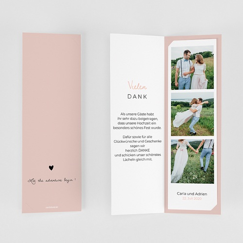 Originelle Dankeskarten Hochzeit 2 Herzen gratuit