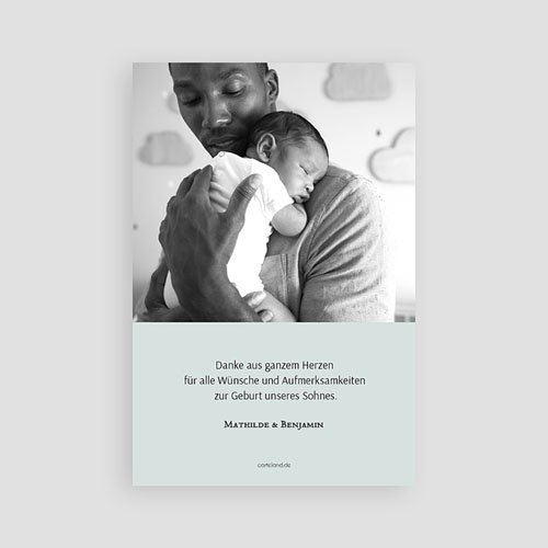 Dankeskarten Geburt Jungen - Motiv & Gold 63341 thumb