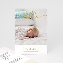 Karten Geburt Hello Gold
