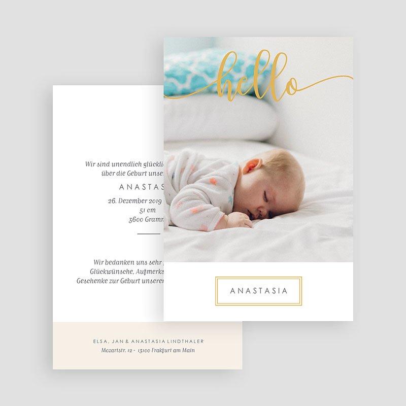 Geburtskarten für Mädchen Hello Gold gratuit