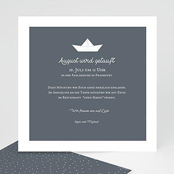 Einladungskarten Taufe Jungen  - Papierschiff - 0