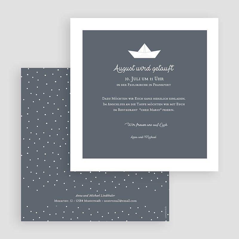 Einladungskarten Taufe Jungen  - Papierschiff 63432 thumb